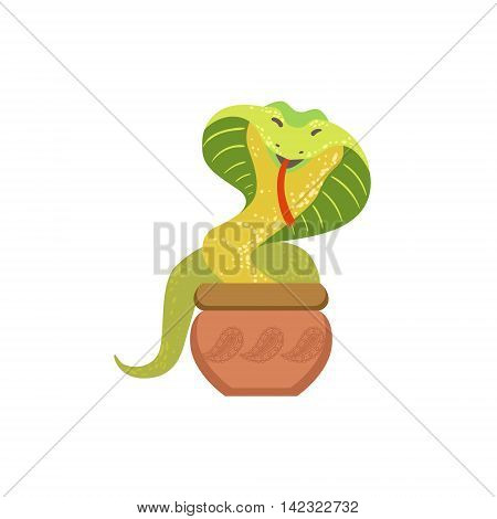 Charmed Cobra Snake Coming Out Of The Basket Country Cultural Symbol Illustration. Simplified Cartoon Style Drawing Isolated On White Background