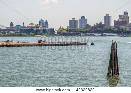 NEW YORK CITY, USA - JUNE 24, 2016: Helicopters in Downtown Manhattan Heliport