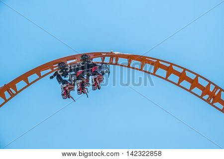 NEW YORK CITY, USA - JUNE 25, 2016: Thunderbolt -new roller coaster in Coney Island Luna park