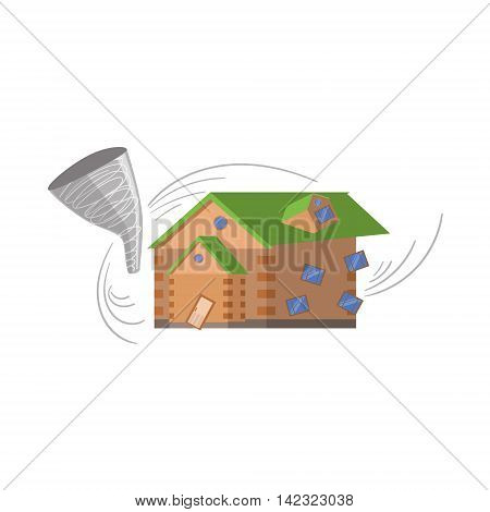 House And Tornado, Natural Forces Threat Flat Vector Illustration. Insurance Case Clipart Drawing In Childish Cartoon Style.