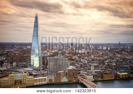 England - Skyline of South London with London Bridge, Shard skyscraper and River Thames - United Kingdom with beautiful sky