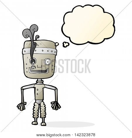 cartoon malfunctioning robot with thought bubble