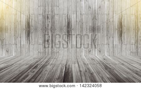 white wooden wall and floor perspective with sunlight effect on top of picture for background interior room vintage color style