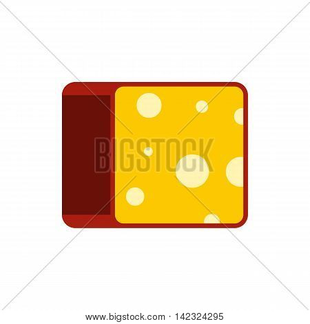 Cheese icon in flat style on a white background