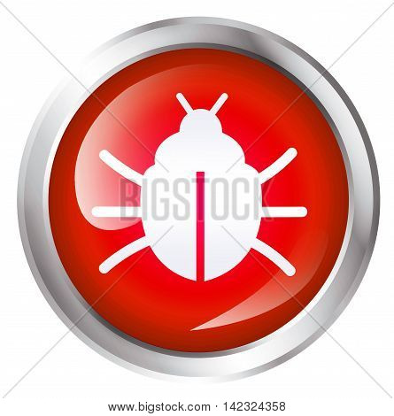 Computer bug icon, isolated on White background. 3D illustration