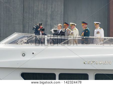 31.07.2016.Russia.Saint-Petersburg.Vladimir Putinas Supreme commander of Russiatakes parade on Navy Day.