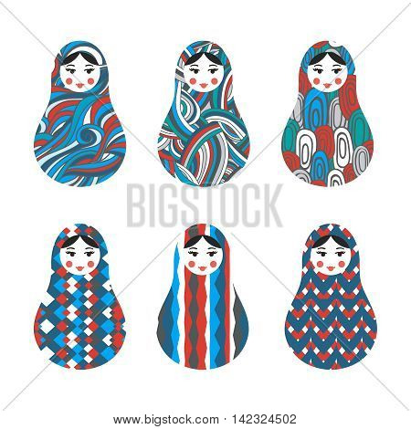 Set of russian traditional wooden toys, babushka, matryoshka, simple USSR elements. Vector illustration. Geometric ornaments are under clipping masks. Retro nested doll design background. Kids theme.