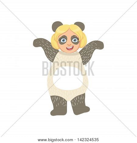 Girl Wearing Panda Animal Costume Simple Design Illustration In Cute Fun Cartoon Style Isolated On White Background