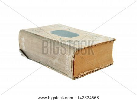 Thick old book isolated on a white background