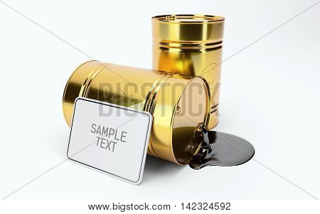 Gold Metal Oil Barrel on White Background, with a white border. Industrial Concept. 3d render. Brent, WTI. OPEC