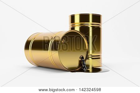 Gold Metal Oil Barrel on White Background, Industrial Concept.  Brent, WTI. OPEC