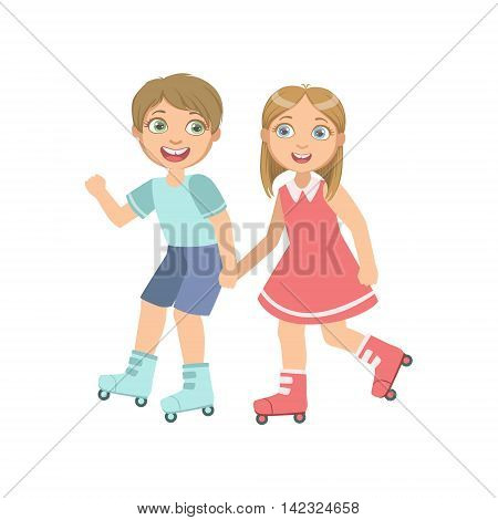 Boy And Girl Roller Skating Holding Hands Bright Color Cartoon Simple Style Flat Vector Sticker Isolated On White Background