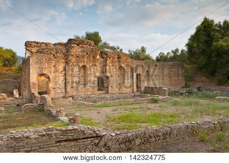Ruins in the archaeological site of Ancient Olympia.
