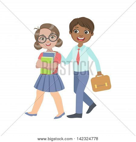 Boy And Girl Walking From School Together Bright Color Cartoon Simple Style Flat Vector Sticker Isolated On White Background