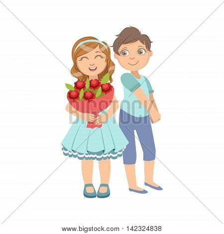 Girl With The Bouquet And Shy Boy Next To Her Bright Color Cartoon Simple Style Flat Vector Sticker Isolated On White Background