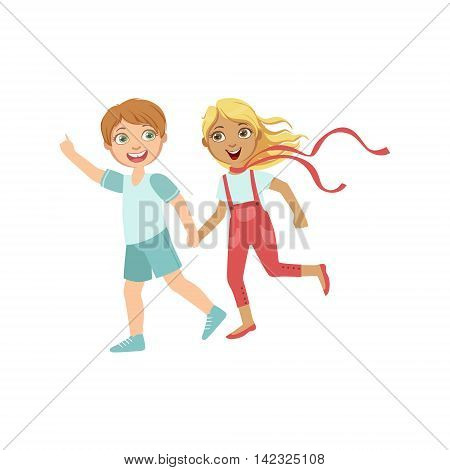 Boy And Girl Running Outside Holding Hands Bright Color Cartoon Simple Style Flat Vector Sticker Isolated On White Background