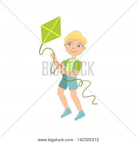 Boy Preparing To Fly A Kite Simple Design Illustration In Cute Fun Cartoon Style Isolated On White Background