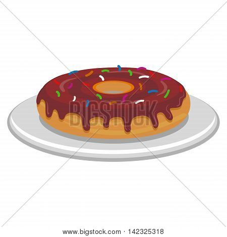 Vector Illustration of Chocolate Donut on plate