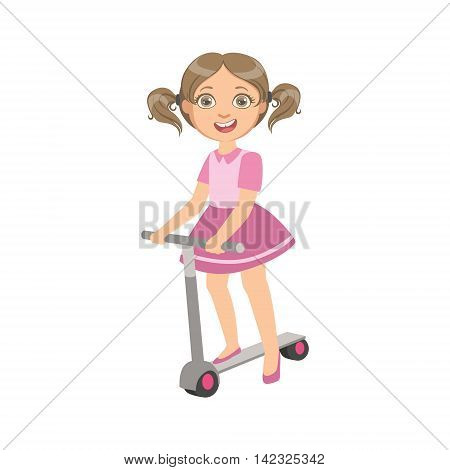Girl With Ponytails Riding Scooter Simple Design Illustration In Cute Fun Cartoon Style Isolated On White Background