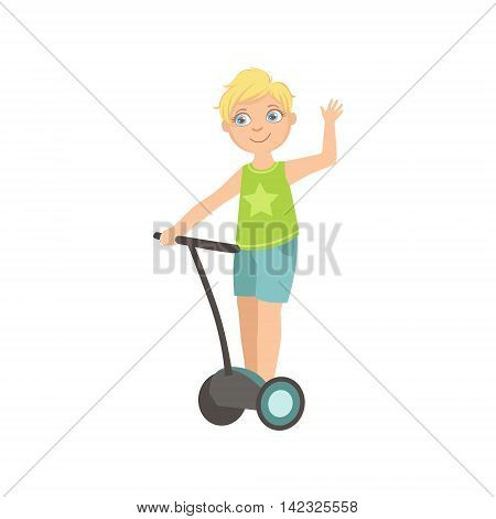 Boy Riding Segway Waving Simple Design Illustration In Cute Fun Cartoon Style Isolated On White Background