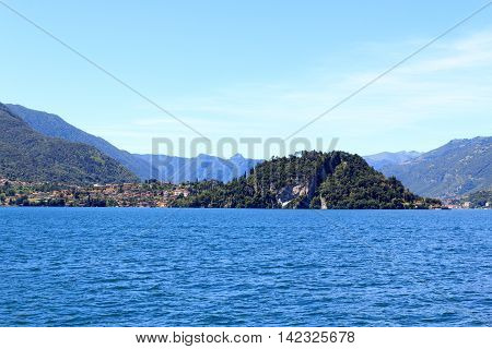 View Towards Lakeside City Bellagio At Lake Como With Mountains In Lombardy, Italy