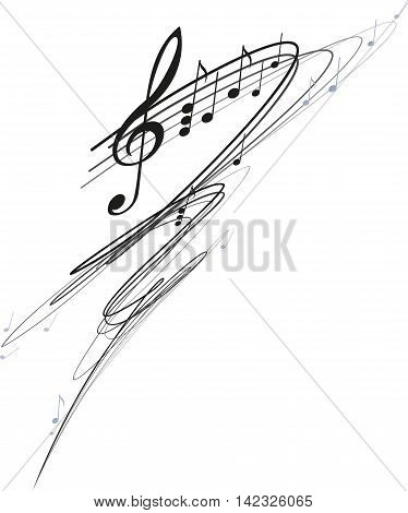 Curved stave treble clef and notes isolated on white background