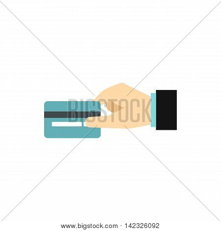 Hand holding blue credit card icon in flat style on a white background