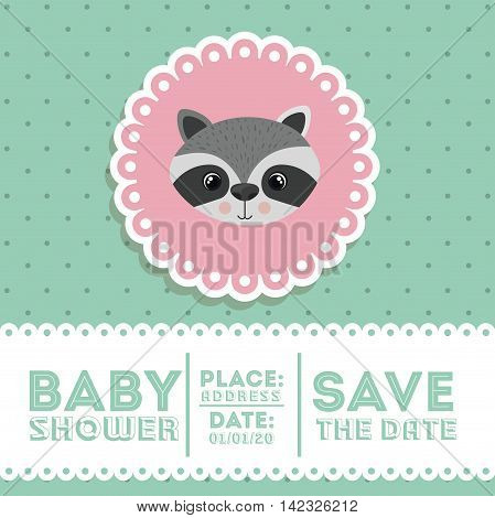 raccoon animal baby shower card icon vector illustration graphic