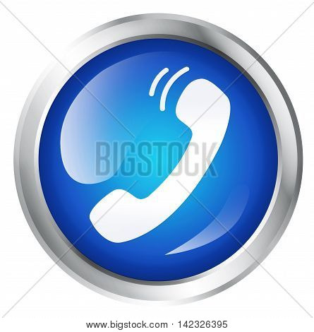 Glossy icon or button with telephone symbol. 3D illustration