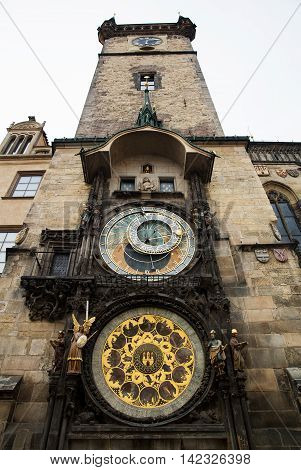 Historical medieval astronomical clock in Old Town Square in Prague Czech Republic. View from bottom to top with copy space