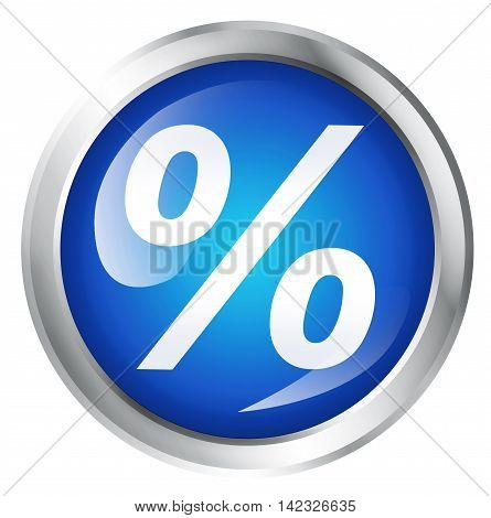Glossy icon or button with percentage symbol. 3D illustration