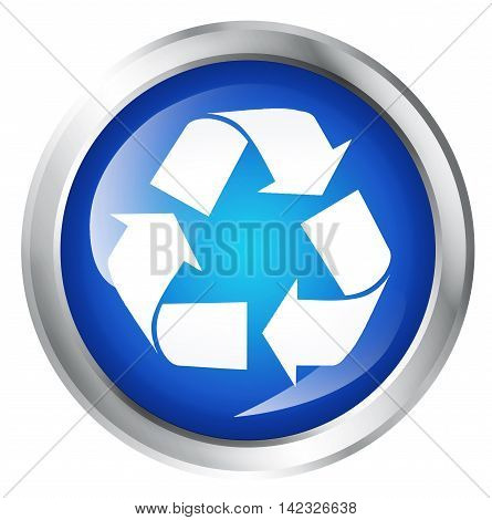 Glossy icon or button with recycling symbol. Ecological symbol. 3D illustration
