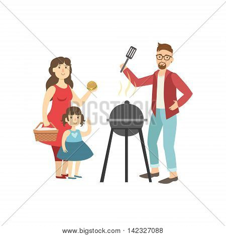 Barbeque Picnic For Family Bright Color Cartoon Simple Style Flat Vector Clipart Isolated Illustration