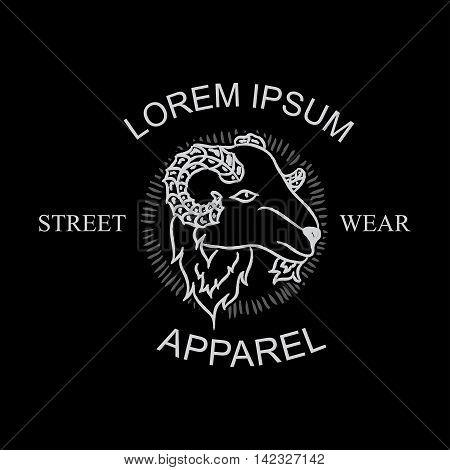Lamb head black and white, tattoo design, vintage style, t-shirt design
