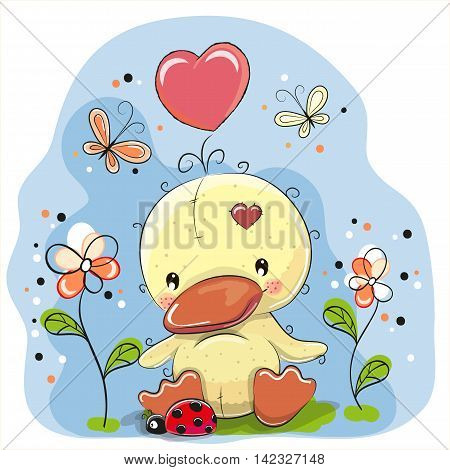 Cute Cartoon Duckling with flowers and butterflies