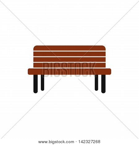 Wooden bench icon in flat style on a white background