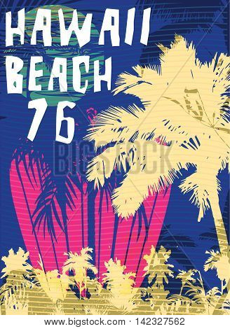 Vector illustration on the theme of surf and surf club miami Grunge background. Vintage design. Typography; t-shirt graphics; print; poster; banner; flyer; postcard
