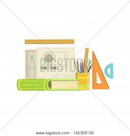 Drafting Class Related Objects Composition, Simple Childish Flat Colorful Illustration On White Background