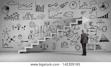 Businessman planning a business strategy in front of staircase (3D Rendering)