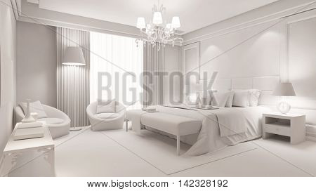 Elegant bedroom with bed completly in white (3D Rendering)