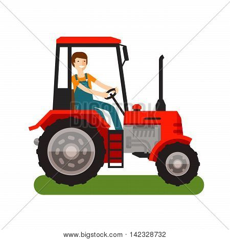 Farm tractor icon. Cartoon vector illustration. flat design