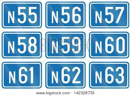 Collection Of Federal Road Shields Used In Belgium