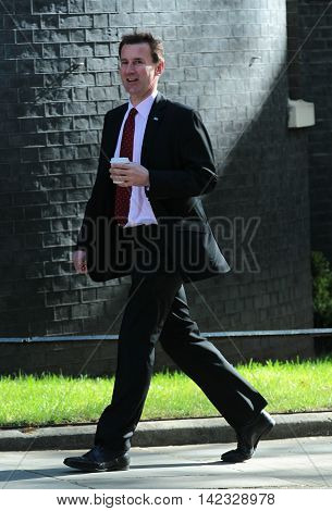 LONDON, UK, MAY 3, 2016: Jeremy Hunt MP seen in Downing Street in London