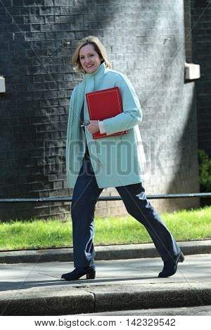 LONDON, UK, MAY 3, 2016: Amber Rudd MP seen in Downing Street in London