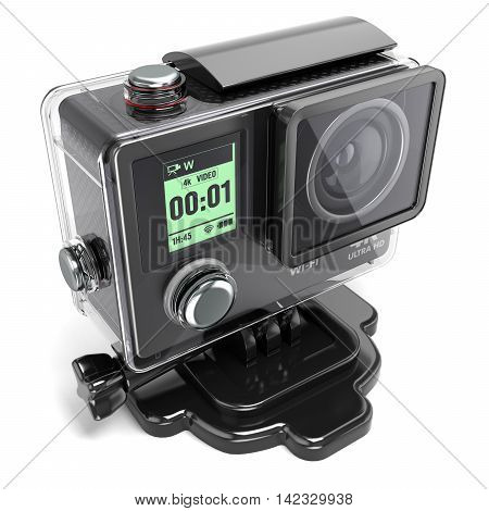 Action Camera 4K  For Extreme Video Recording In A Plastic Box 3D