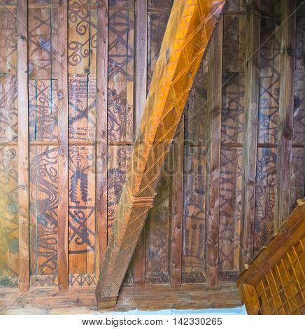 FIKARDOU CYPRUS - AUGUST 6 2014: The timbered ceiling of the Church of Apostles Peter and Paul decorated with the primitive pattern preserved since the Middle Ages on August 6 in Fikardou.