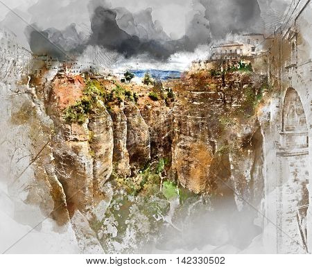Digital watercolor painting of a Ronda canyon. Province of Malaga Andalusia Spain