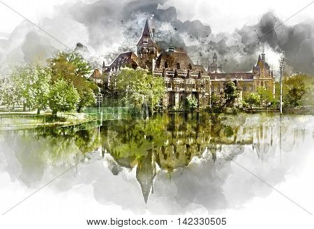 Digital watercolor painting of a Vajdahunyad castle view from lakeside. Budapest Hungary