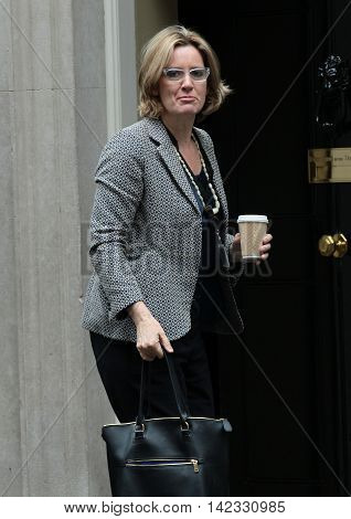 LONDON, UK, JUN 14, 2016: Amber Rudd MP arriving in Downing Street for the weekly cabinet meeting
