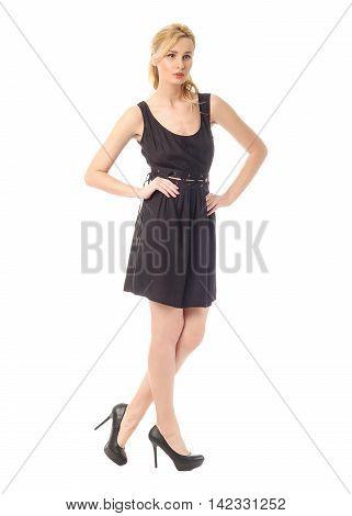 Fashion model wearing black sundress isolated on white